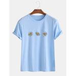 Оригинал              Loose Daisy Flowers Round Шея Повседневные футболки с коротким рукавом для мужчин Женское