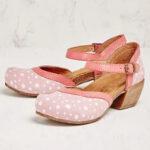 Оригинал              Женские круглые носки на каблуке с ремешком в горошек