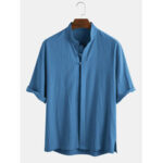 Оригинал              Мужские 100% хлопок восточные этнические сплошной цвет воротник стойка 3/4 рукава рубашки
