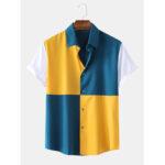 Оригинал              Мужская мода Лоскутная сплошной цвет отложным воротником с коротким рукавом Рубашки Рубашки