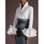 Оригинал              Женская повседневная куртка с отложным воротником, сплошной цвет, блузка