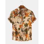 Оригинал              Мужские Винтаж Цветочные Масло с принтом отложным воротником рубашки с коротким рукавом