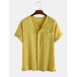 Оригинал              Мужские 100% хлопок сплошной цвет нагрудный карман скрытые кнопки повседневные рубашки