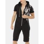 Оригинал              Мужская печать сплошной цвет карман с коротким рукавом на молнии Комбинезон пижамы