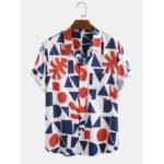 Оригинал              Мужская мода Цвет Блок Геометрическая Шаблон Дышащие повседневные рубашки