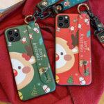 Оригинал              MEKS Рождественский мультяшный олень Шаблон Покрытие с ремешком на ремешке Ударопрочный ТПУ Защитный Чехол для iPhone 11/11 Pro Max / 11 Pro / XR / XS MAX/6 / 6S /
