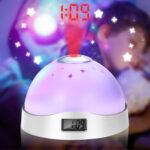 Оригинал              Мини 7 Цветов LED Night Light Alarm Часы Time Проектор Повтора Батарея Powered