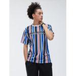 Оригинал              Мужская многоцветная полосатая дышащая бригада с принтом Шея Спортивные футболки с коротким рукавом