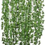 Оригинал              12шт искусственной зелени виноградных лоз листьев плюща гирлянда висит Свадебное партии Сад украшения