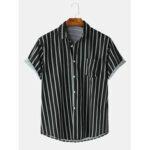 Оригинал              Мужская полоса с принтом с короткими рукавами и воротником на пуговицах Повседневные рубашки