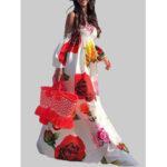Оригинал              Открытое плечо Цветочный принт Эластичный Лето Пляжный Длинный макси Платье