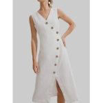 Оригинал              Женщины без рукавов V-образный вырез Кнопки Повседневный Рубашка Платье