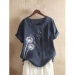 Оригинал              Повседневная футболка с короткими рукавами и цветочным принтом