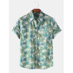 Оригинал              Mens Holiday Tree Печать Тропические дышащие рубашки с коротким рукавом повседневные