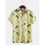 Оригинал              Мужская мода Кокос Дерево печати Дышащие с коротким рукавом повседневные рубашки