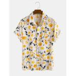 Оригинал              Daisy Spray Lively 3D Печатный с отложным воротником Hawaii Holiday Рубашки с коротким рукавом для мужчин Женское