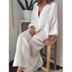 Оригинал              Плюс размер сплошной цвет V-образным вырезом Holiday Casual Женское Maxi Платье