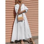 Оригинал              Повседневный повседневный Женское сплошной цвет с рюшами и рукавами праздник макси Платье