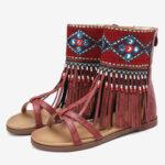 Оригинал              LOSTISY Женское Гладиатор с открытыми носками и вышивкой на молнии Сандалии