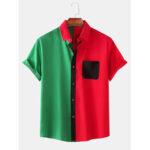 Оригинал              Мужчины сплошной цвет пэчворк на пуговицах воротник с коротким рукавом модные рубашки
