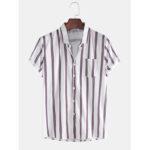Оригинал              Мужская мода дышащая многоцветная полоса сундук карман с коротким рукавом повседневные рубашки
