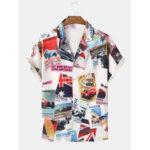 Оригинал              Men Funny Авто Принт с отложным воротником с коротким рукавом Hawaii Holiady Shirts