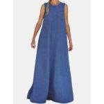 Оригинал              Женский сплошной цвет O-образным вырезом без рукавов Summer Pocket Casual Maxi Платье