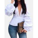 Оригинал              Длинный рукав фонаря V-образным вырезом из массива повседневной блузки для Женское