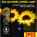 Оригинал              2 ШТ. LED Солнечная Легкий Подсолнух Лампа На открытом воздухе Двор Сад Украшение Газон Путь