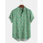 Оригинал              Повседневные рубашки Henley для мужчин с цветочным принтом и смешным цветочным принтом Женское