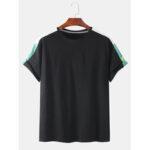 Оригинал              Мужская сплошная цветная лоскутная бригада с короткими рукавами Шея Повседневные футболки