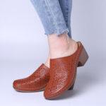 Оригинал              LOSTISY Женское Закрытый носок на толстом каблуке Comfort Solid Color Ретро Сандалии