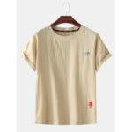 Оригинал              Мужская мода Little Cloud Мультфильм Вышивка дышащая футболка с круглым вырезом Повседневные футболки