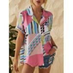 Оригинал              Геометрические печатные отворотом на пуговицах с нестандартной подкладкой повседневные рубашки для Женское