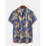 Оригинал              Мужские рубашки с короткими рукавами и принтом в тропическом цветочном лесу