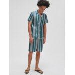 Оригинал              Мужские полосатые шорты Revere с короткими рукавами из двух частей гладкая домашняя пижама