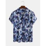 Оригинал              Мужчины Тропический Кокос Tree Gradient Печатный отложным воротником карман с коротким рукавом Гавайи Пляжный Рубашки