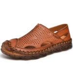 Оригинал              Мужская дышащая полая противоударная ручная строчка Soft повседневная обувь