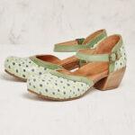 Оригинал              Women Flower Шаблон D'Orsay Круглый ремешок на лодыжку Удобные туфли на каблуках