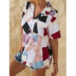 Оригинал              Рубашки с геометрическим рисунком в виде пэчворка на пуговицах для Женское