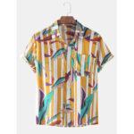 Оригинал              Мужские рубашки в полоску с отложным воротником и короткими рукавами