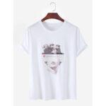 Оригинал              Мужская хлопковая творческая штукатурка с принтом с короткими рукавами и дышащей футболкой