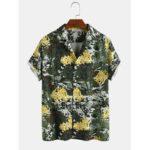 Оригинал              Mens Abstract Tropical Кокос Рубашки с короткими рукавами с камуфляжным принтом в виде дерева и леопарда
