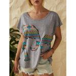 Оригинал              Слон с принтом O-образным вырезом с коротким рукавом Женское Повседневные футболки