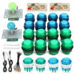 Оригинал              DIY Наборы джойстика для аркады 20 LED Arcade Кнопки + 2 джойстика + 2 комплекта USB-кодировщика + комплект кабелей для аркадной игры