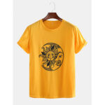 Оригинал              Мужские забавные мундиры Sun Moon с принтом дышащих повседневных футболок с коротким рукавом