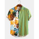 Оригинал              Banggood Дизайн Мужская тропическая Лист Colorful Полосатый смешанный принт с коротким рукавом повседневные праздничные рубашки