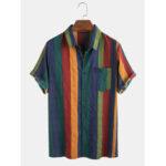 Оригинал              Мужские тонкие дышащие хлопчатобумажные рубашки с короткими рукавами Colorful в полоску