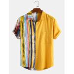 Оригинал              Banggood Дизайн Мужчины 100% хлопок градиента в полоску с принтом лоскутное нагрудный карман с коротким рукавом повседневные праздничные рубаш