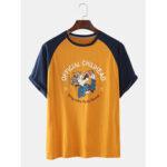 Оригинал              Мужская хлопковая куртка с забавными буквами Шея Свободные футболки с коротким рукавом реглан